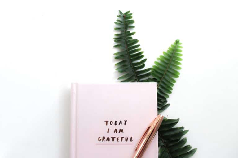 Grateful notebook with plant and pen