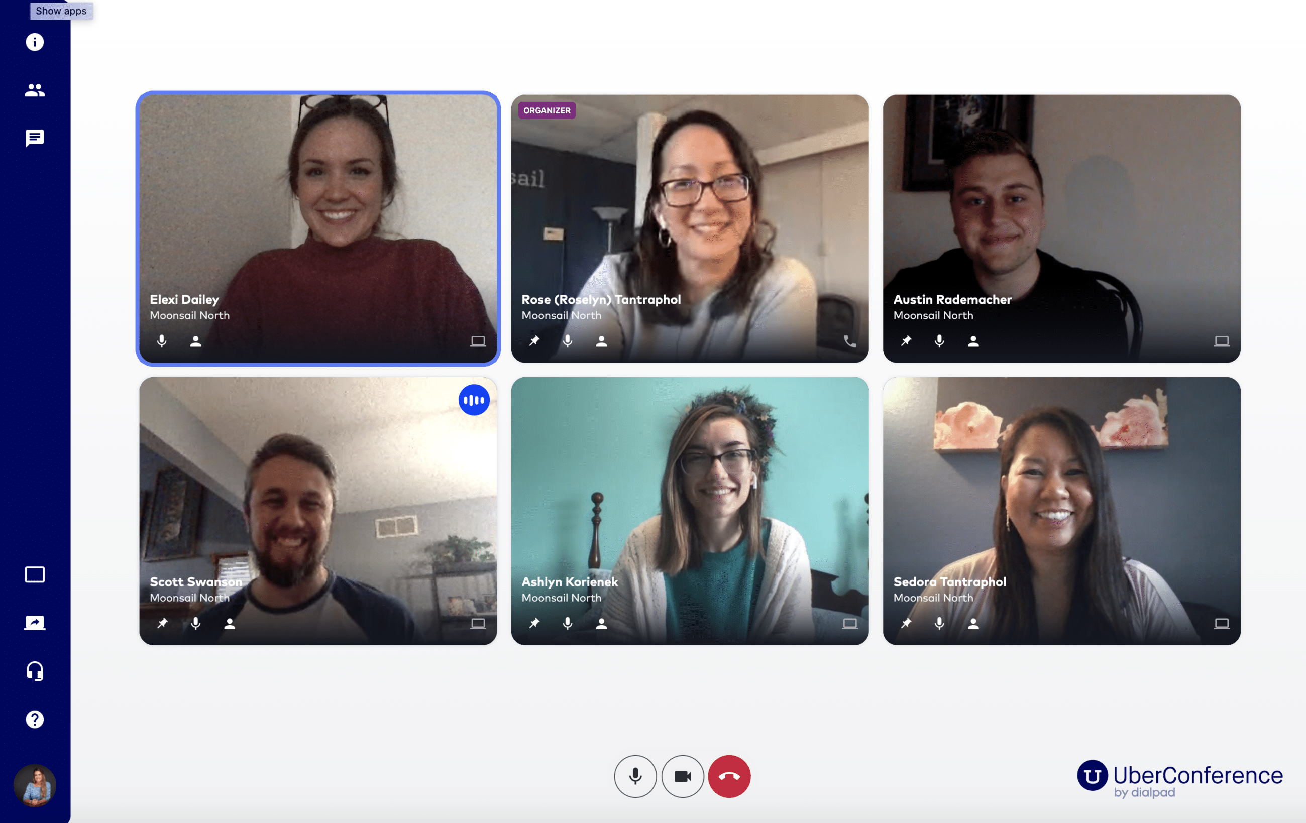 UberConference screenshot of Moonsail North team members