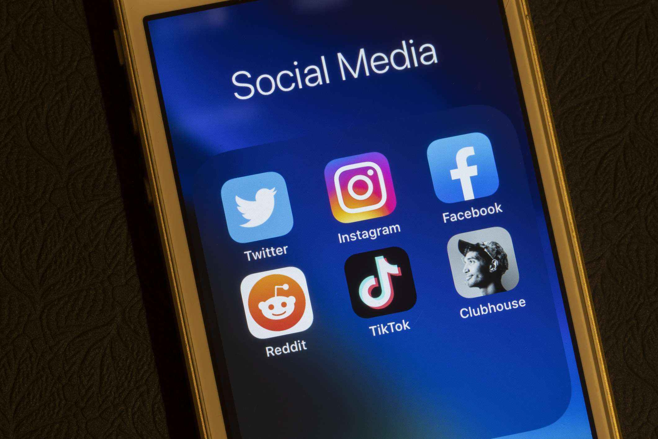 Cell phone showing social icons
